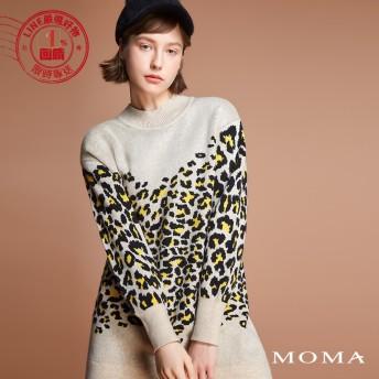 MOMA(92KM78)豹紋長版針織上衣