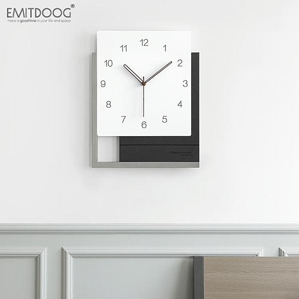 方形掛鐘客廳北歐輕奢鐘表時鐘掛墻現代簡約個性靜音藝術