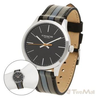 COACH 條紋真皮錶帶 男錶/手錶/腕錶(黑)