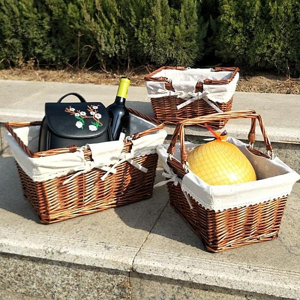野餐籃收納籃戶外田園水果籃手提籃采摘籃購物籃【古怪舍】