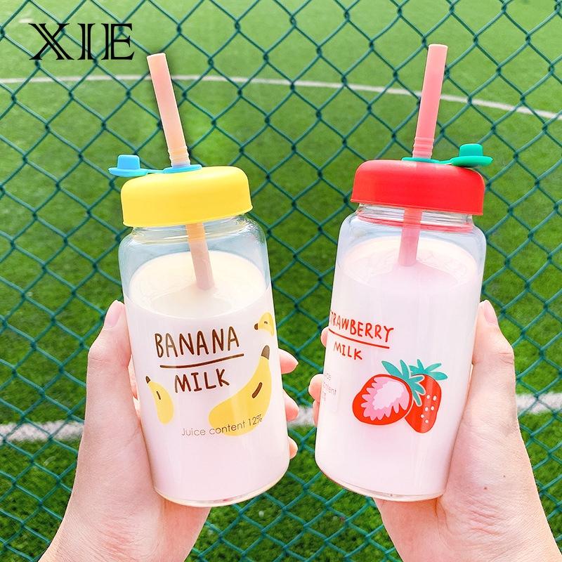 【XIE家優選】簡約韓版卡通水果印花高硼硅玻璃水杯便攜外帶少女心ins吸管水杯
