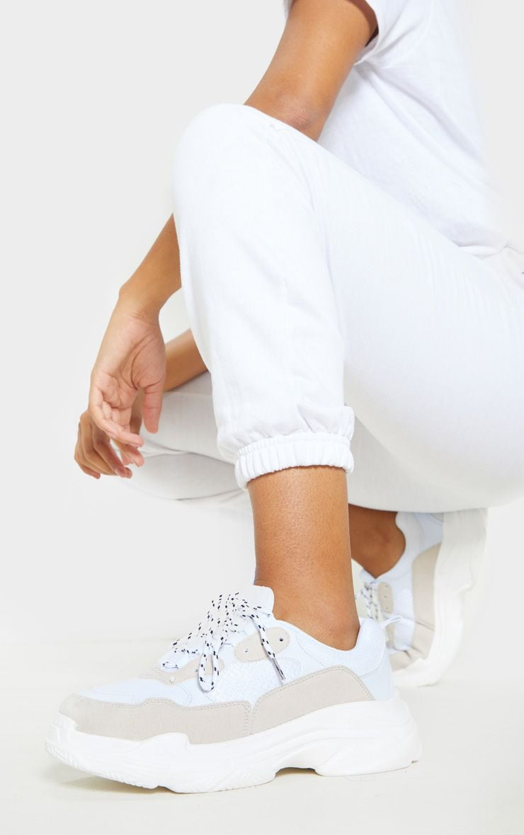 White Lace Up Chunky Sneakers