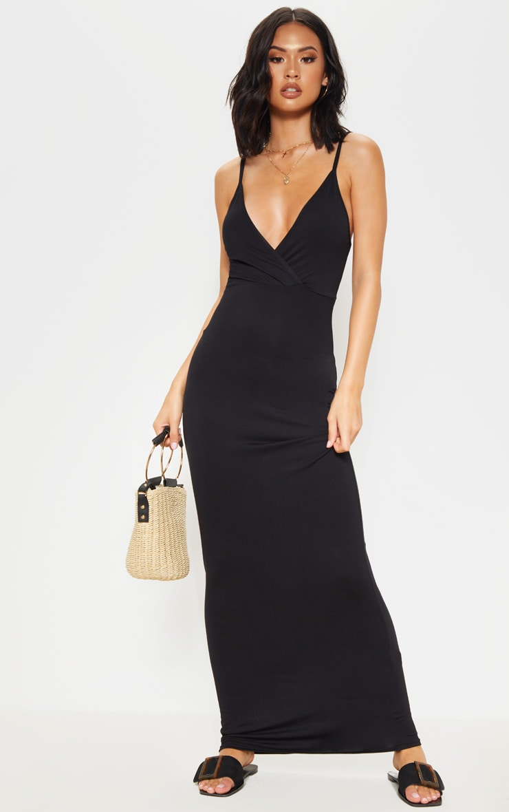 Black Jersey Plunge Strappy Maxi Dress