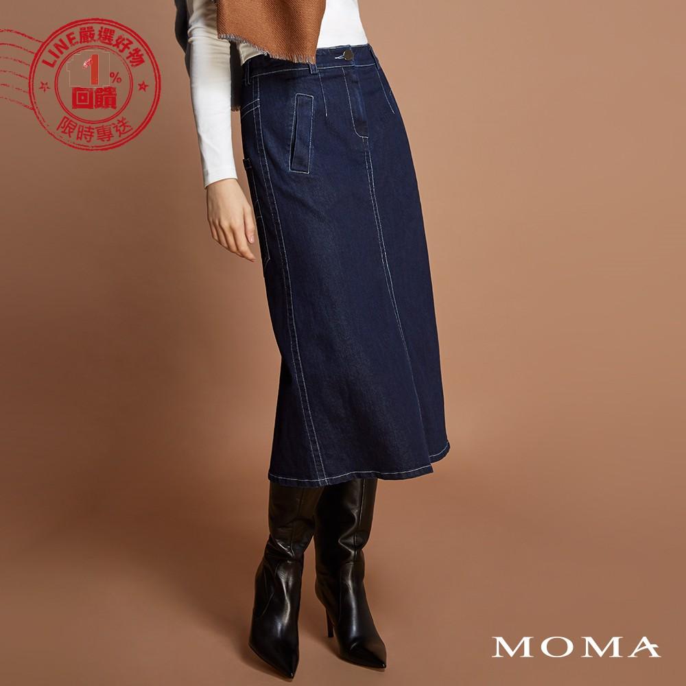 MOMA(92S088)前開叉明線丹寧裙