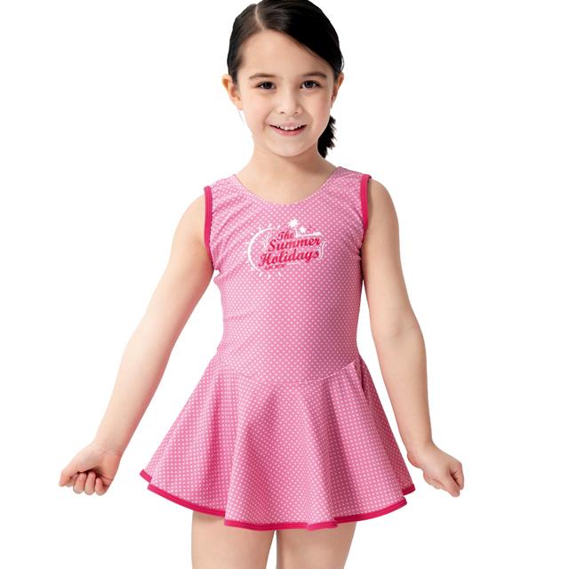 沙兒斯 連身裙式女童泳裝 B882006
