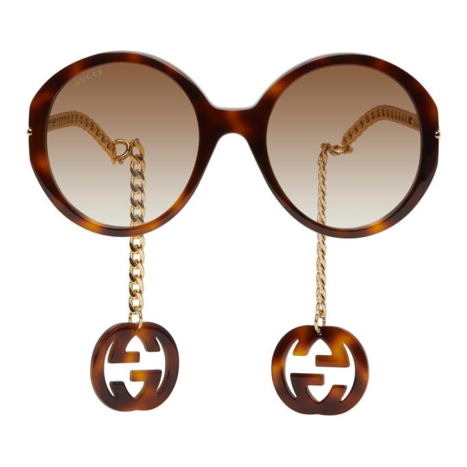 Gucci 玳瑁色 and 金色 GG0726S 太阳镜