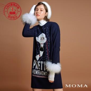 MOMA(92KM91)滑雪女孩字母長版上衣