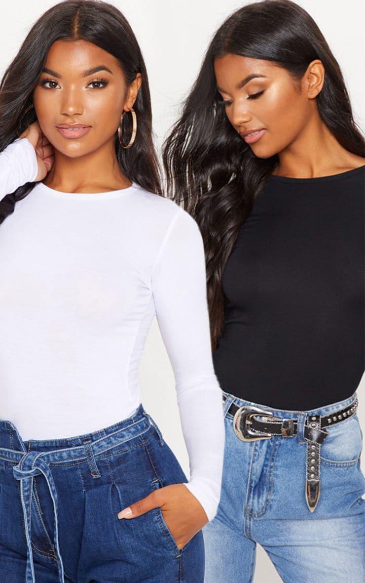 Basic Black & White 2 Pack Long Sleeve Fitted T Shirt