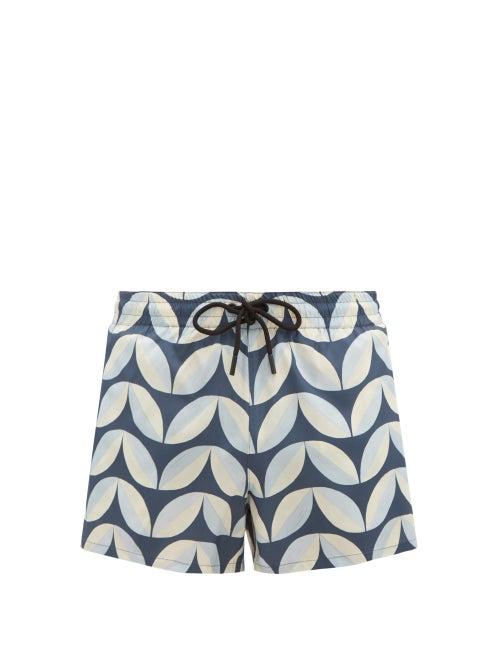 Commas - Drawstring Pavilion Tile-print Swim Shorts - Mens - Blue Multi