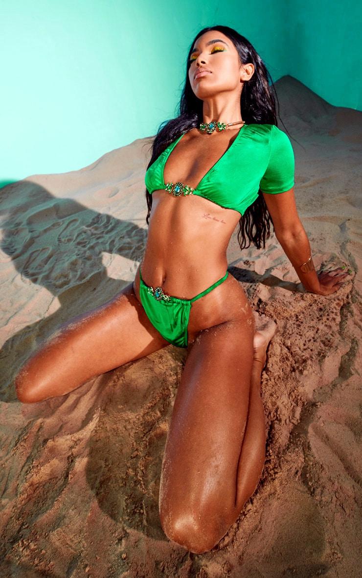 Emerald Green Jewel Front Bikini Bottoms