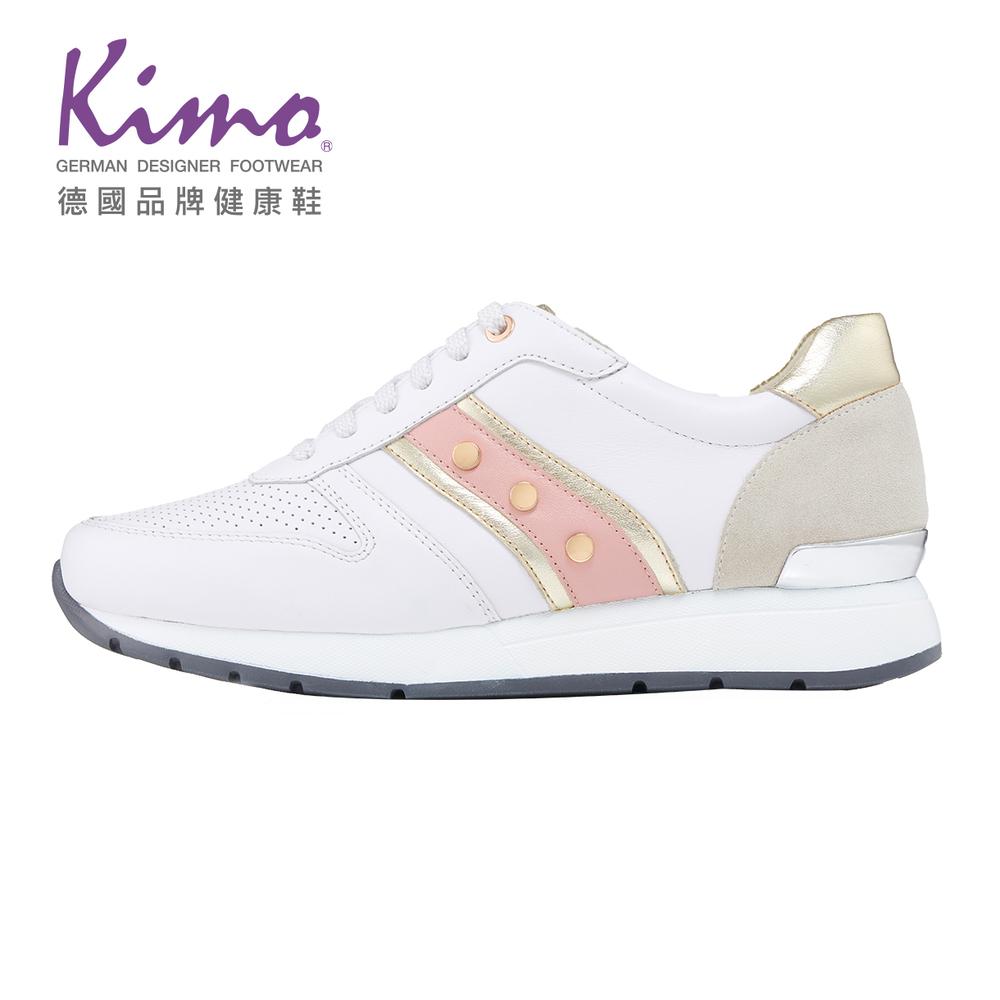 【Kimo 德國品牌健康鞋】金屬扣飾粉色拼接休閒慢跑鞋(清新白81080S116120)