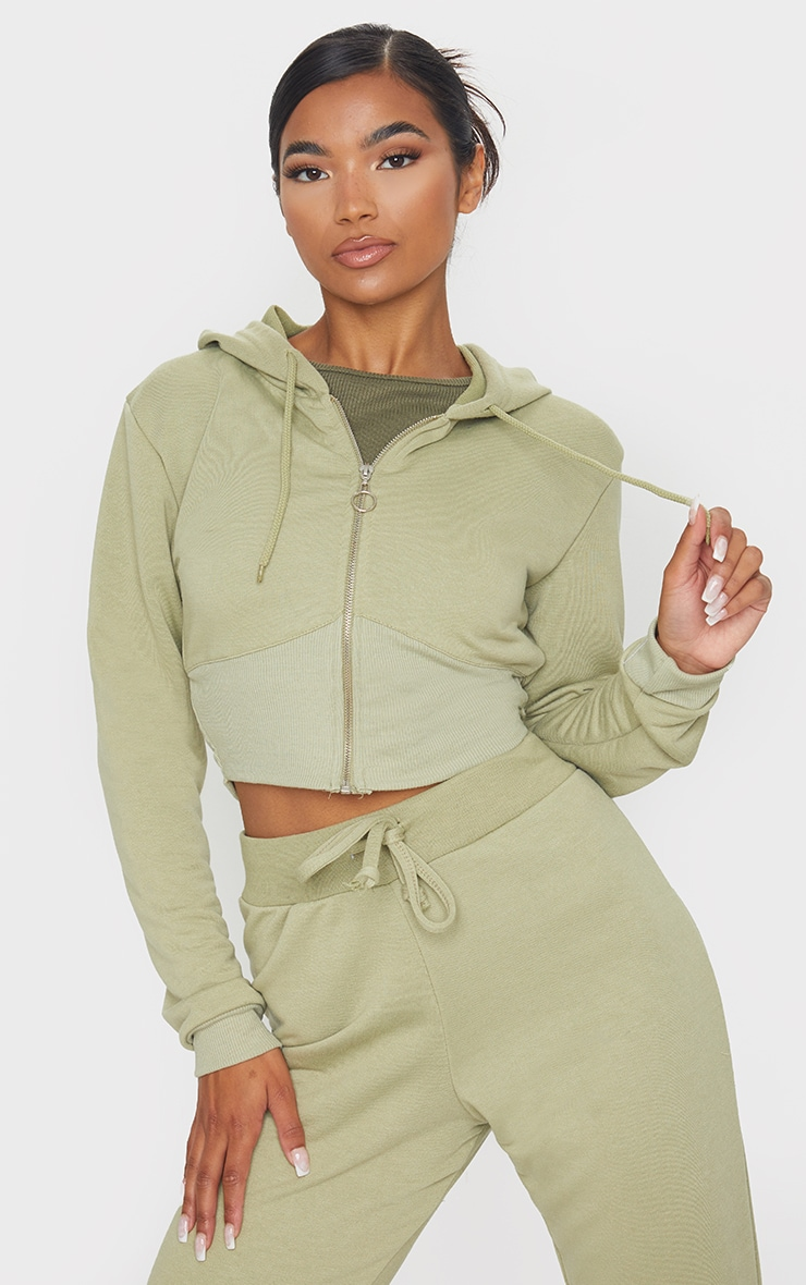 Sage Green Zip Up Bustier Hoodie