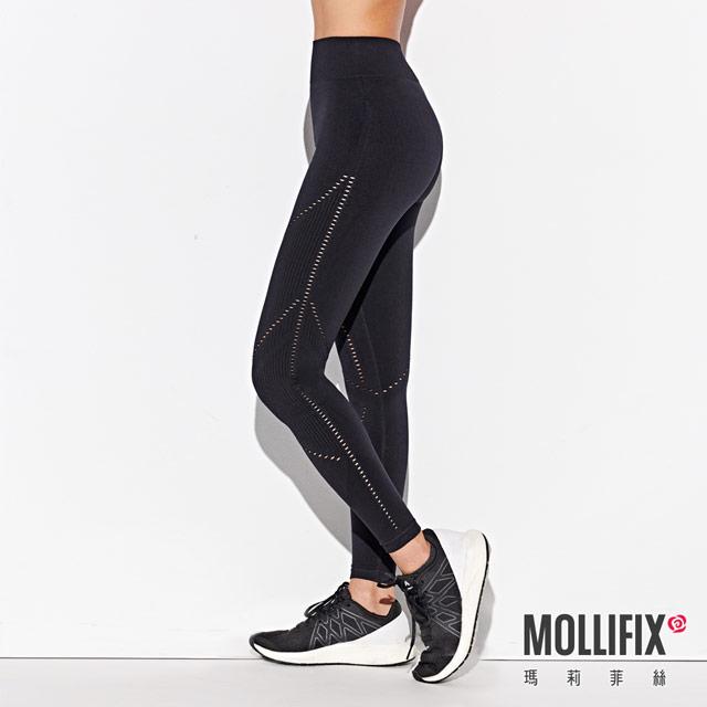 Mollifix 瑪莉菲絲 A++網眼針織無痕九分褲 (黑)