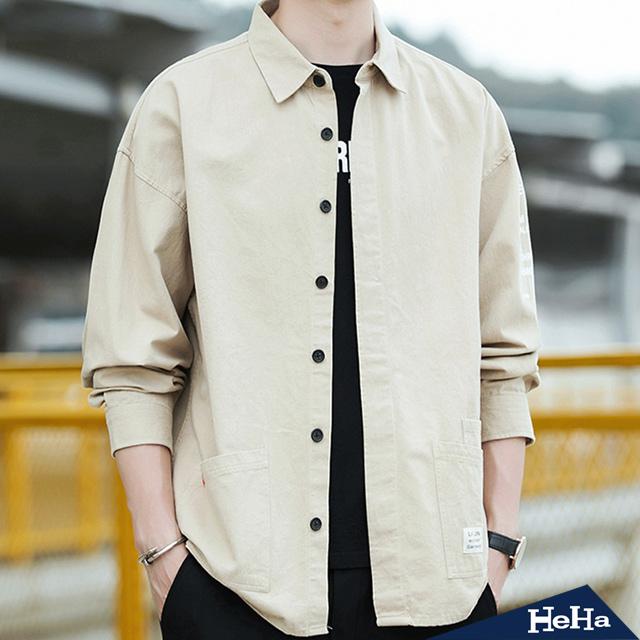 【HeHa】休閒翻領口袋襯衫外套 五色