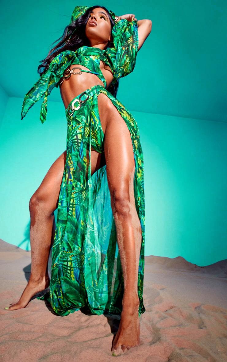 Green Tropical Gold Trim Split Front Beach Skirt