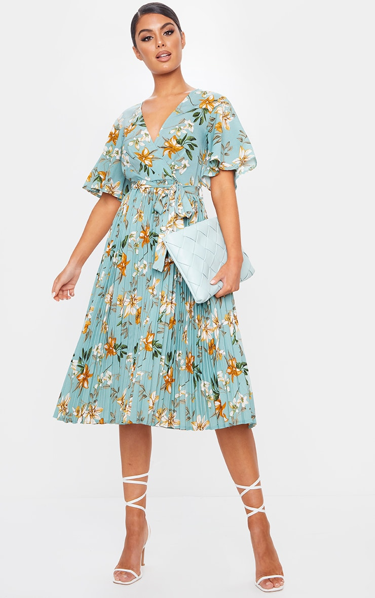 Sage Green Floral Pleated Midi Dress