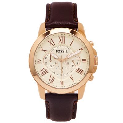 FOSSIL  羅馬優雅風計時的皮帶手錶(FS4991)-淡黃金色面/44mm