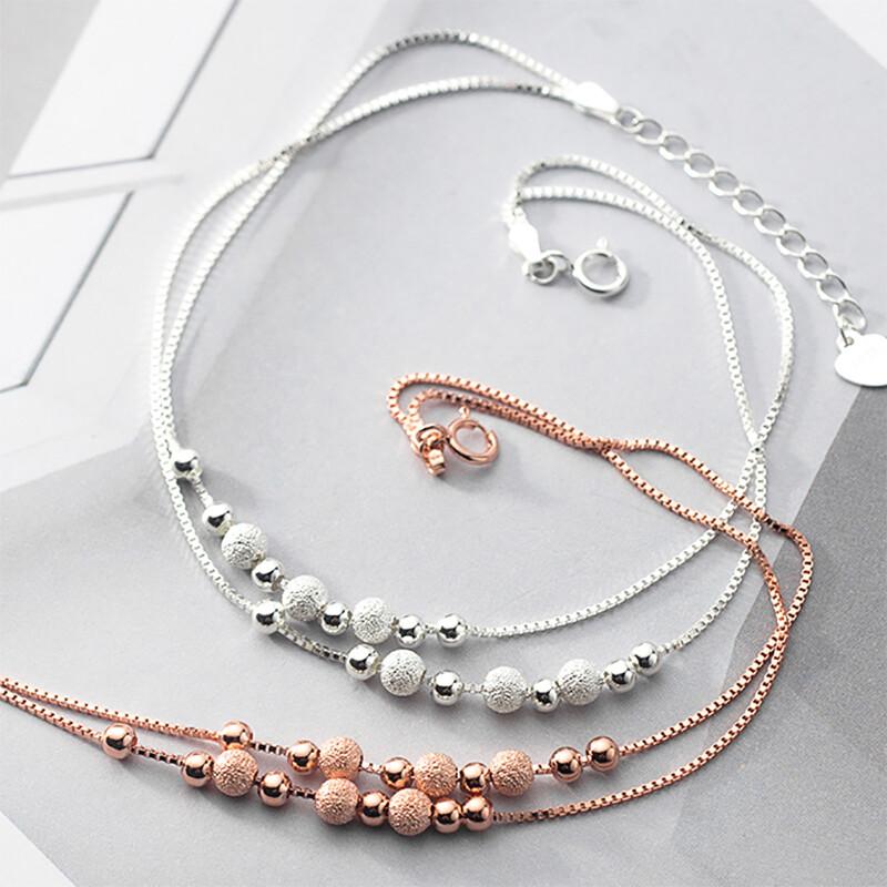 s925銀 雙層銀豆豆磨砂珠腳鏈 韓版 簡約 女氣質 文藝 腳飾
