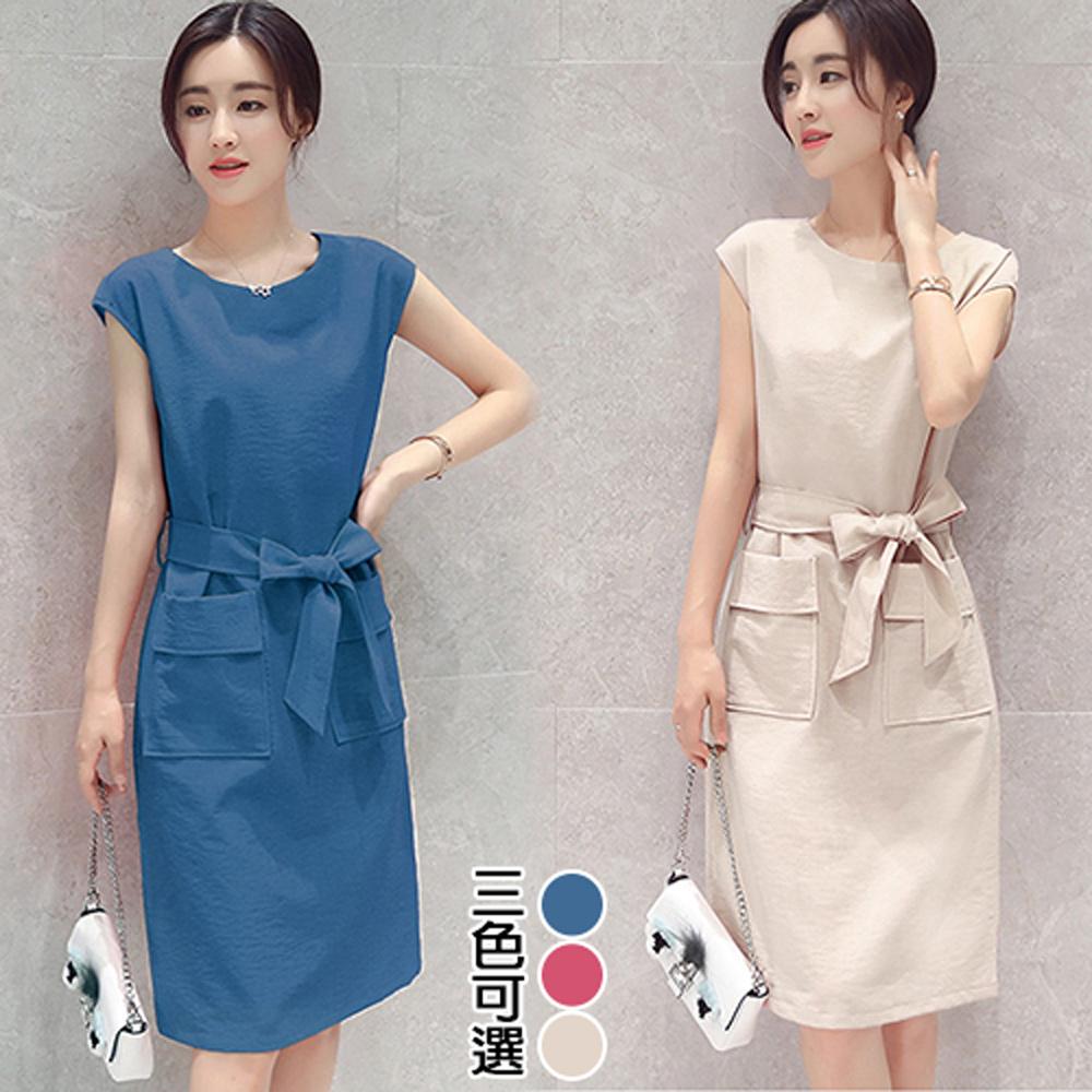 【韓國K.W.】(預購) XL-3XL 淑女OL休閒素面口袋綁帶洋裝
