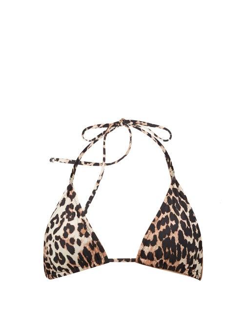 Ganni - Leopard-print Triangle Bikini Top - Womens - Leopard