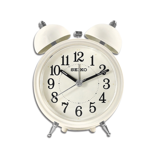 SEIKO 精工 / 復古風 滑動式秒針 貪睡鬧鈴 雙鈴鬧鐘 - 米白色 #QHK035C