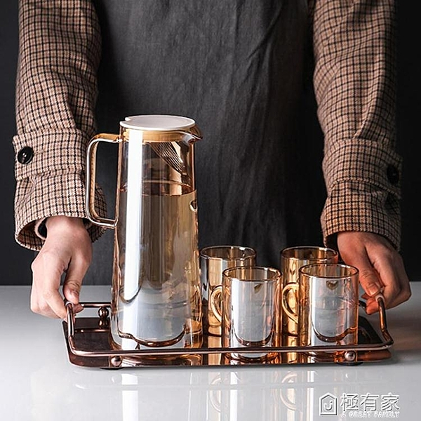 北歐冷水壺家用加熱裝水玻璃壺ins網紅果汁壺涼水杯水具套裝扎壺
