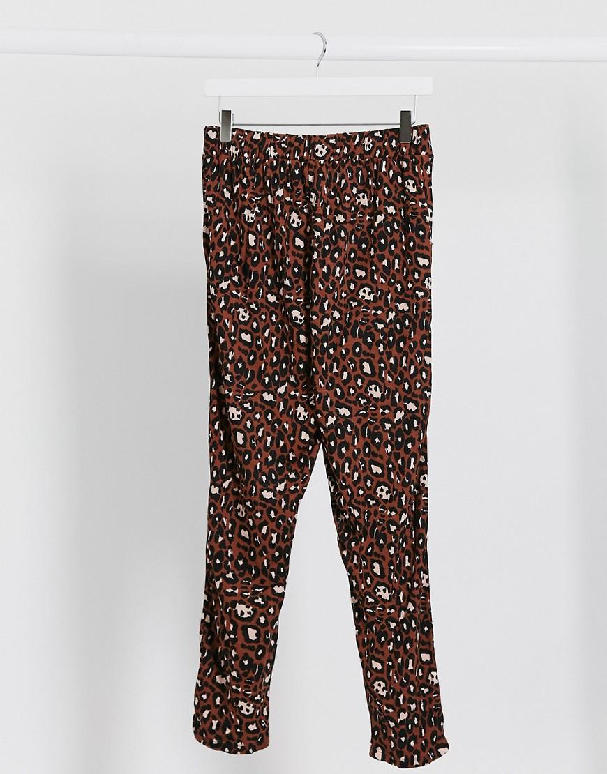 ASOS DESIGN jersey peg trouser in animal print-Multi