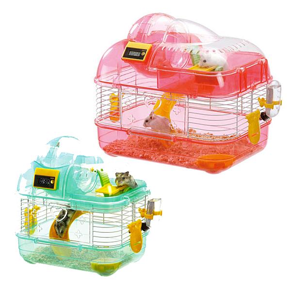 寵物家族-日本Marukan-雙層計步鼠籠(MK-MR-757 ) 粉紅S