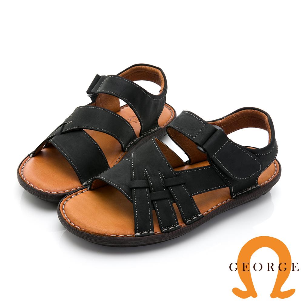【GEORGE 喬治皮鞋】舒適系列 真皮寬楦厚底氣墊涼鞋-黑017002ED-10