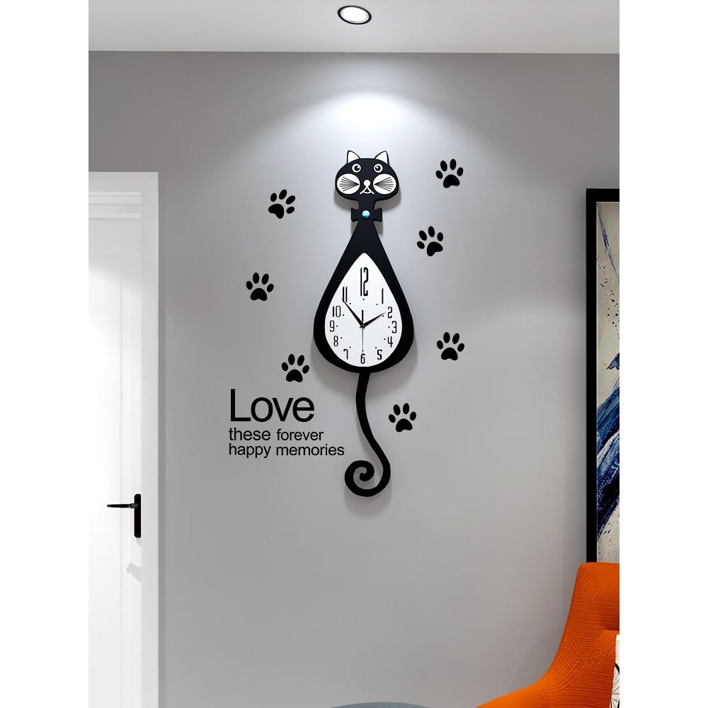 【現貨】北歐貓咪鐘表掛鐘客廳現代簡約創意靜音時鐘個性卡通家用時尚掛表