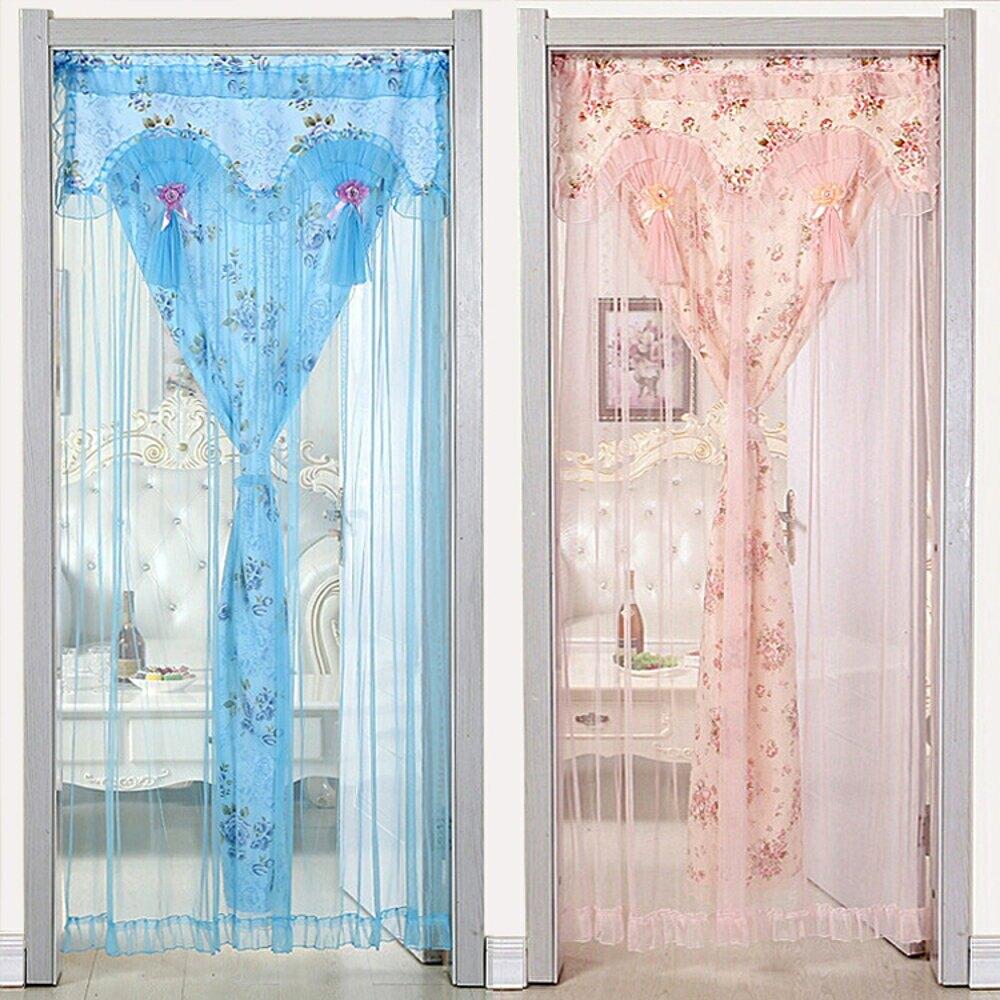 新款布藝防蚊門簾蕾絲臥室門簾 雙層隔斷長門簾掛簾