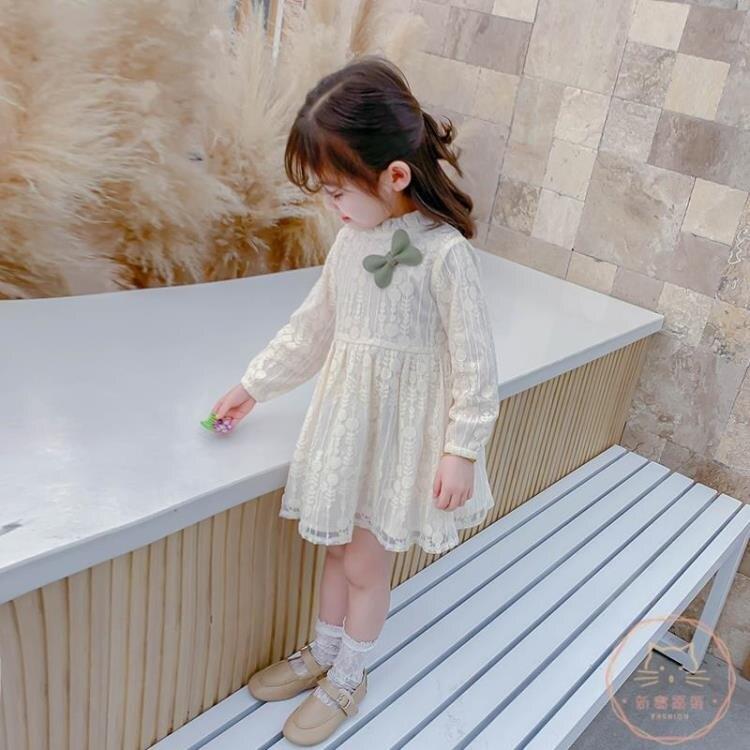 女童連衣裙 女童連衣裙春秋洋氣裙子春款兒童小童長袖蕾絲公主裙2020春裝
