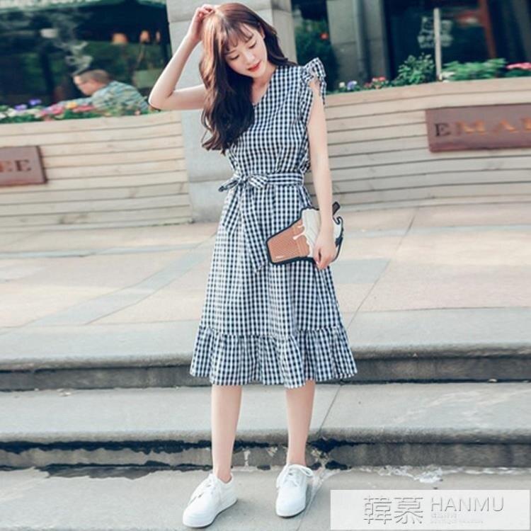 鉅惠夯貨夏季新款V領中長款格子連身裙韓版女裝飛飛袖收腰顯瘦荷葉邊裙潮