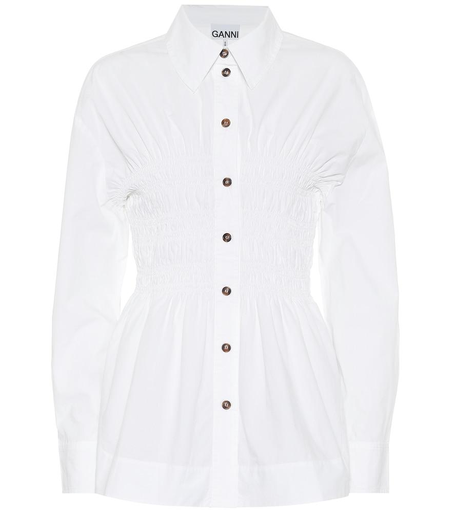 Ruched cotton-poplin shirt