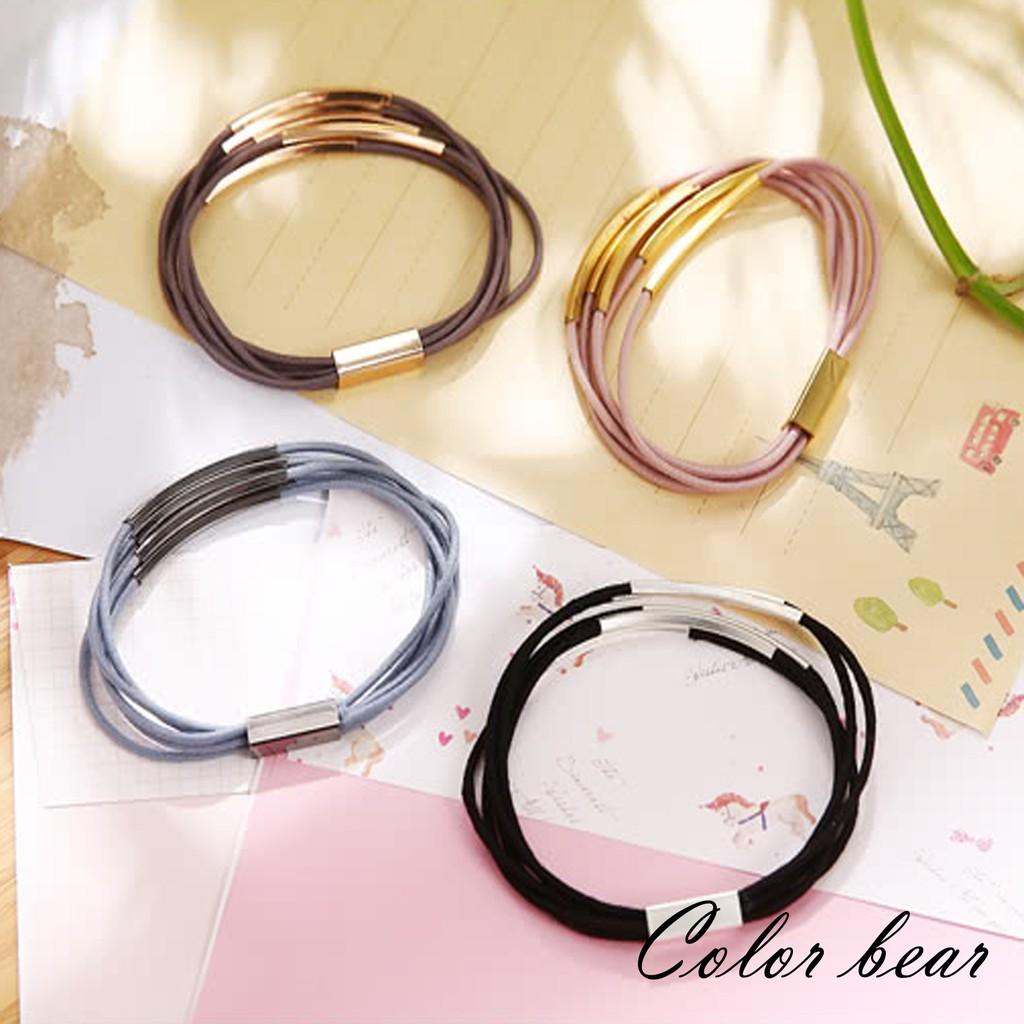 【卡樂熊】歐美極簡金屬環細繩兩用手環髮束(隨機不挑色)