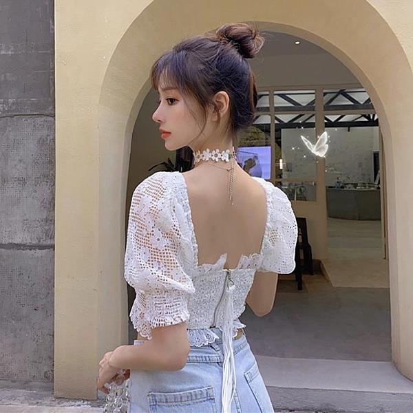罩衫 勾花鏤空白色蕾絲衫女夏季新款韓版修身露背短款泡泡袖上衣 瑪麗蘇