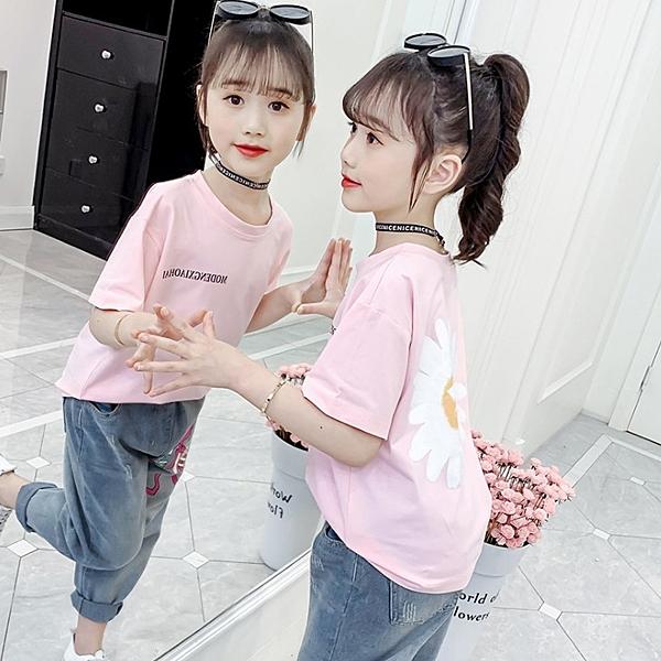 衣童趣↘韓版中大女童 夏日短T 大花朵 印花字母短袖上衣【現貨】