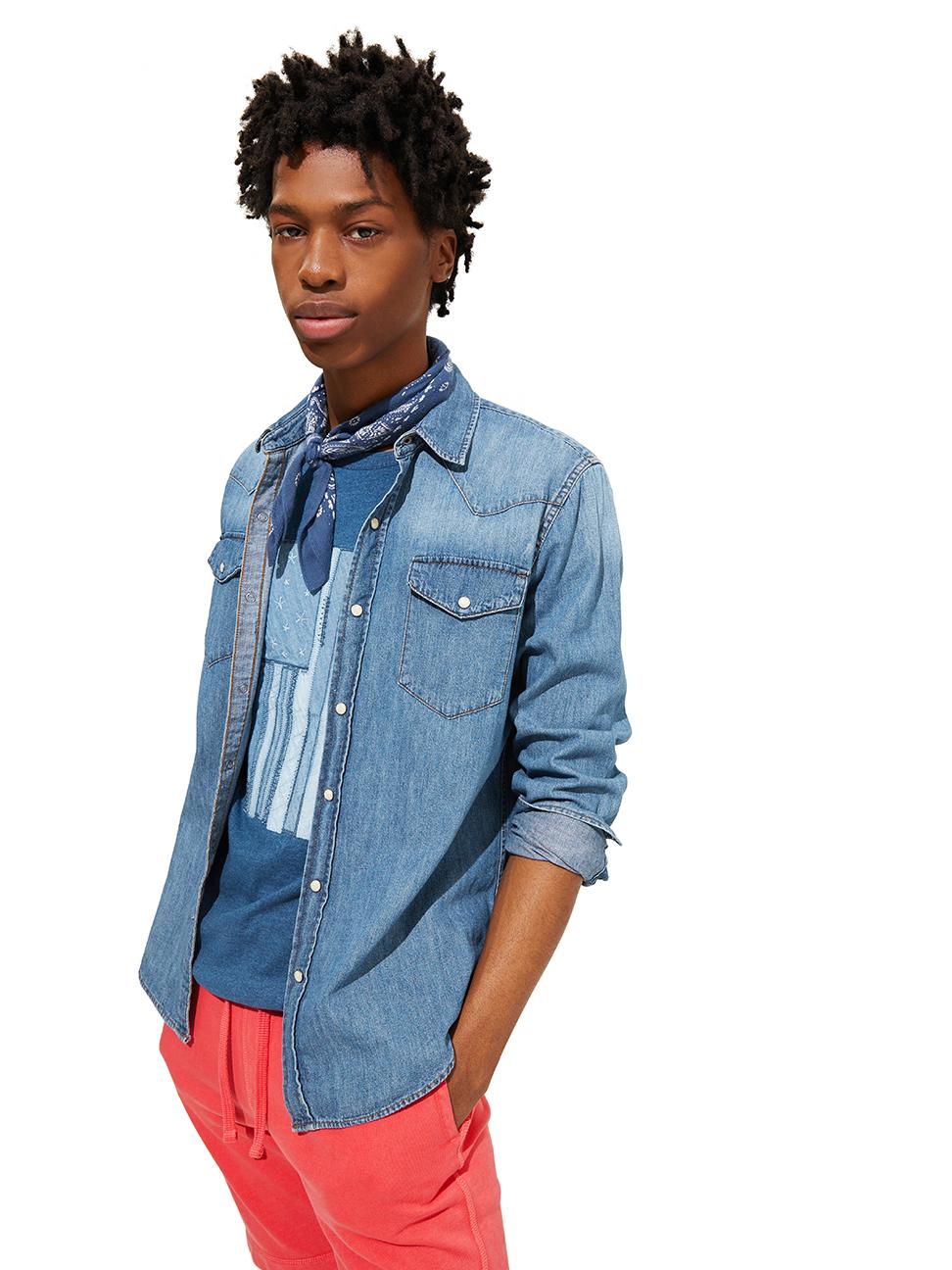 男裝 基本款純棉西部風修身牛仔襯衫