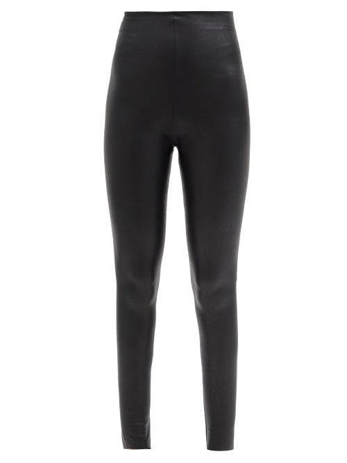 Commando - High-rise Faux-leather Leggings - Womens - Black