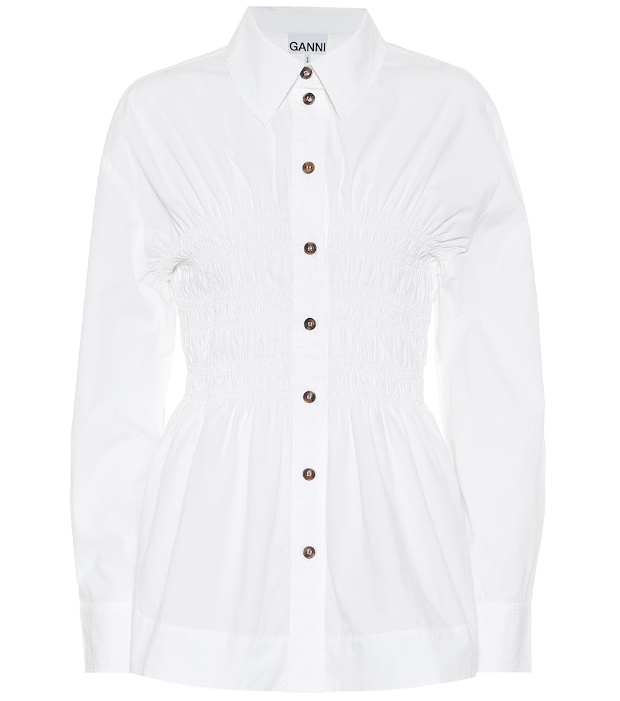 Ruched cotton-poplin shirt