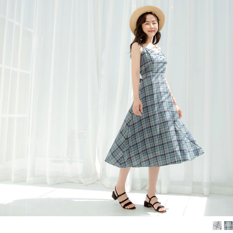高含棉清新格紋色調收腰綁帶細肩傘襬洋裝