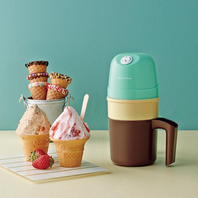 Ice Cream Maker 迷你冰淇淋機(珊瑚綠) + 專用冰桶組