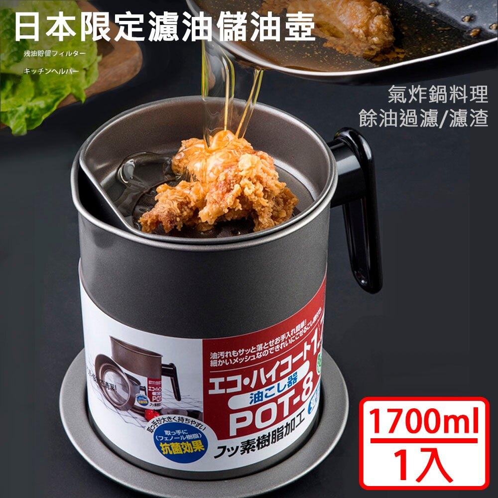 【媽媽咪呀】大容量濾渣濾油壺-日本限定304不鏽鋼濾網款(1入)