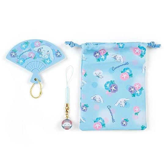 小禮堂 大耳狗 扇形隨身鏡吊飾束口袋組 小物收納袋 掛飾鏡 (藍) 4550337-52416
