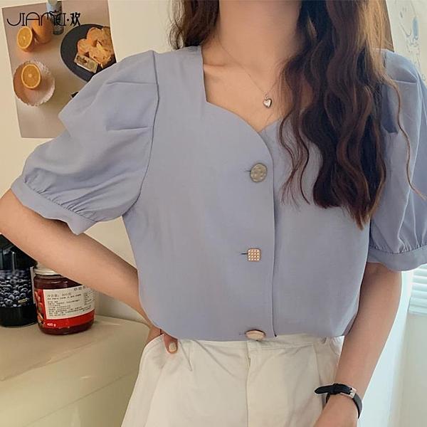 韓版泡泡袖法式復古短款上衣設計感小眾方領短袖雪紡襯衫女夏季 陽光好物
