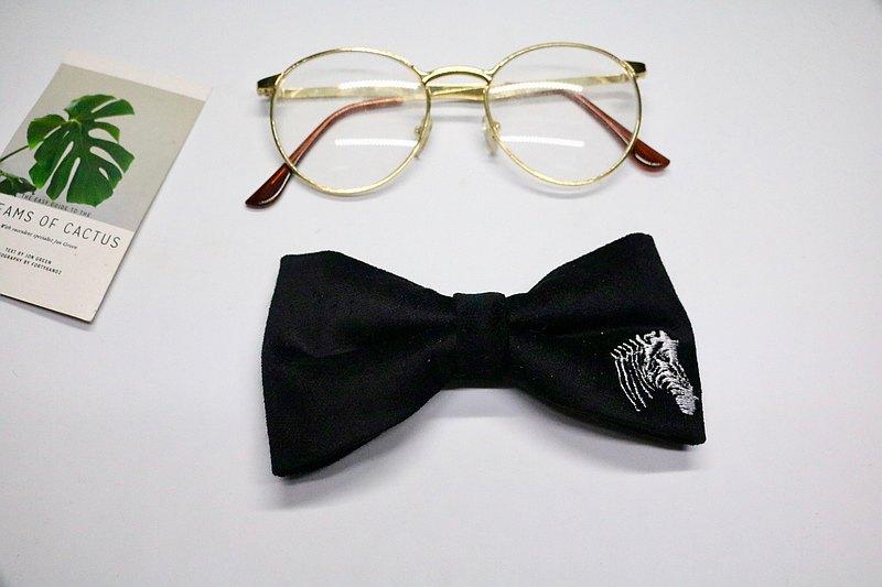 黑色斑马刺绣领结/麂皮独特设计蝴蝶结