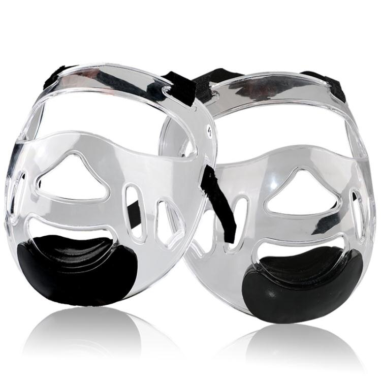 跆拳道護臉透明防護面罩結實可拆卸空手道護臉護頭頭盔面具