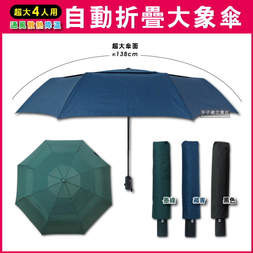 生活良品-日系極簡4人用雙層風力散熱自動摺疊開收大象傘(附傘套)