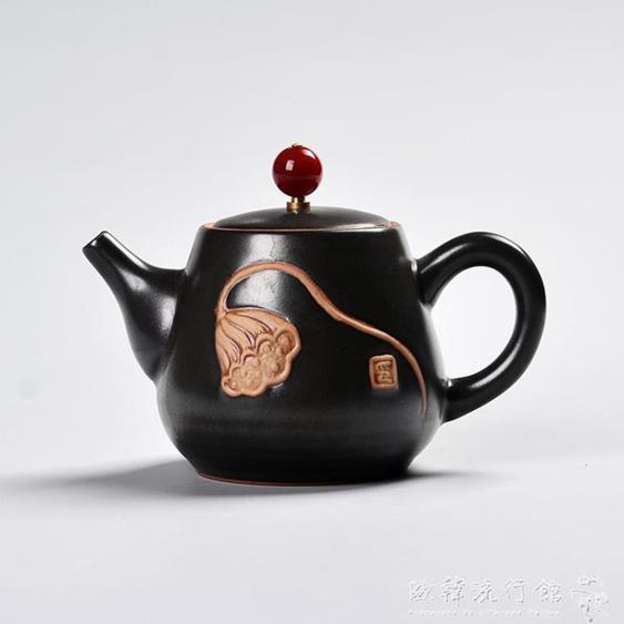 茶壺定窯茶壺陶瓷泡茶壺功夫茶具茶壺茶杯普洱紅茶單壺手繪荷花蓮藕蓬 夏洛特居家名品