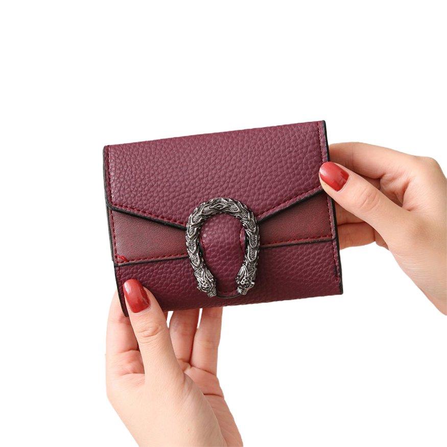 短夾 錢夾 ins新款歐美純色女士錢包 女短款三折小錢包 女零錢包 卡包皮夾 短款錢夾 流行皮夾 潮可